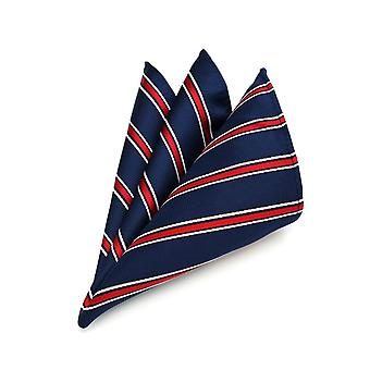 Burgundy white & navy blue stripe pocket square hanky