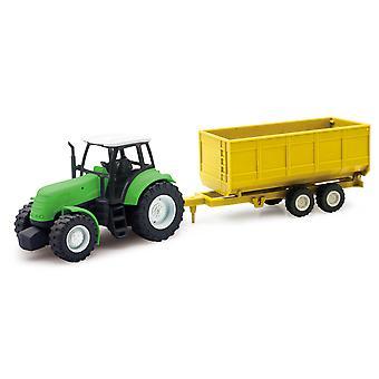 Tractor de granja verde con remolque de cultivo acoplable