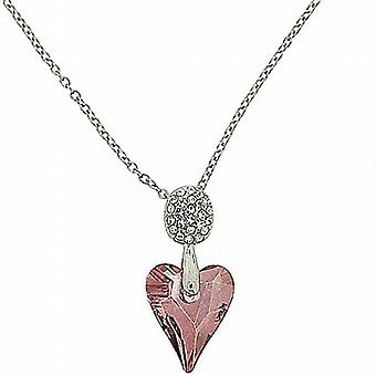 Park Lane Silvertone Pink Glass Heart Pendant Necklace 16