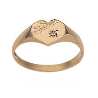 9ct goud 9x9mm dames diamond set hand gegraveerd hartvormige Signet Ring grootte J