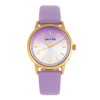 Sophie and Freda San Diego Leather-Band Watch - Purple