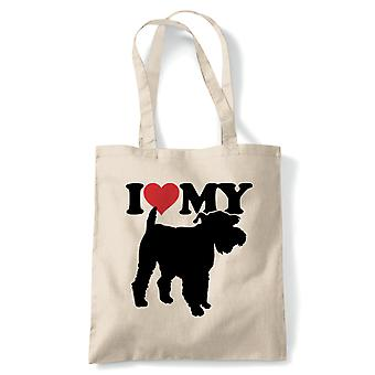 I Love My Miniature Schnauzer Tote - France Dog Gift Fur Baby Lover Propriétaire Mans Best Friend (fr) Reusable Shopping Cotton Canvas Long Handled Natural Shopper Eco-Friendly Mode