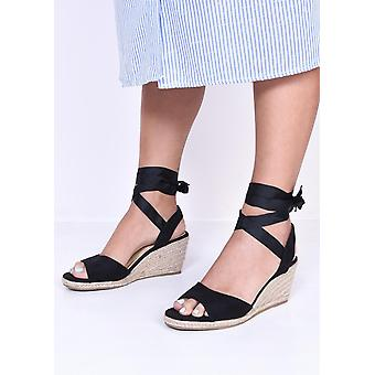 Lace Up Espadrille Wedge Sandals Suede Black