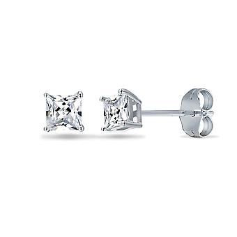 Jewelco London sterling sølv CZ Square prinsesse cut Solitaire øreringe-3mm