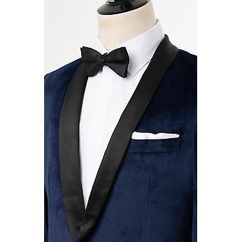 Dobell Mens dunkelblauen Smoking Sakko Slim Fit Velvet Kontrast Schal Revers