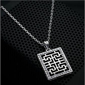 18K Gold Plated Black And White Maze Pendant