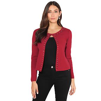 KRISP Diamante Trim Cashmere Cardigan