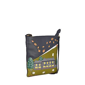 The Lakes Pub Leather Cross Body Bag in Navy