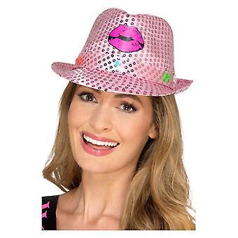 Womens Light Up Sequin nubilato Trilby cappello costume accessorio