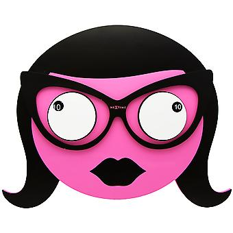 NeXtime - Wall clock - Ø 39 cm - Wood – Pink – 'Ms Spectacles'