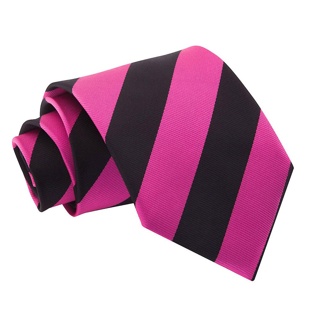 Striped Hot Pink & Black Tie