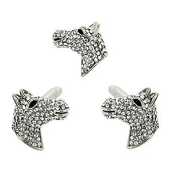 Butler & Wilson Crystal Horse Head Cufflinks & Clutch Pin Set
