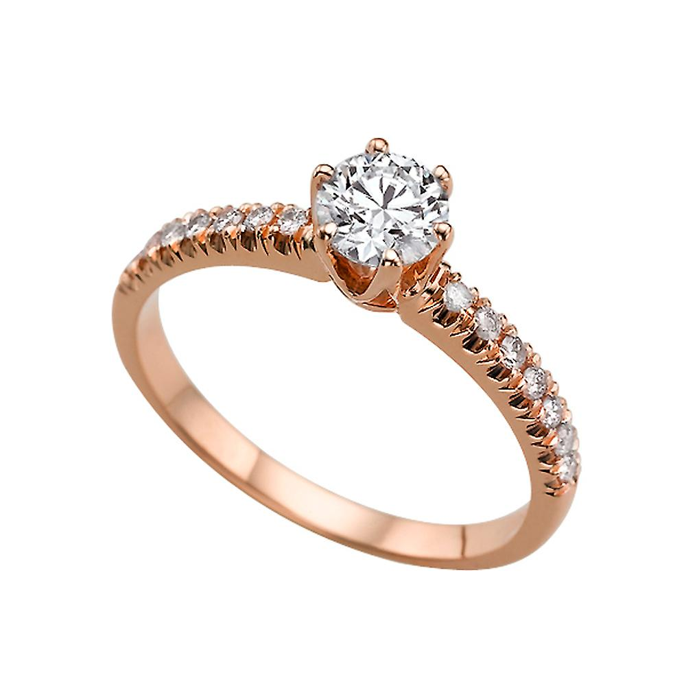 carat f si2 diamond engagement ring 14k rose gold solitaire w accents classic round fruugo. Black Bedroom Furniture Sets. Home Design Ideas