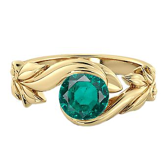 1.00 CT Emerald Ring 14K Yellow Gold Flower Leaves Leaf