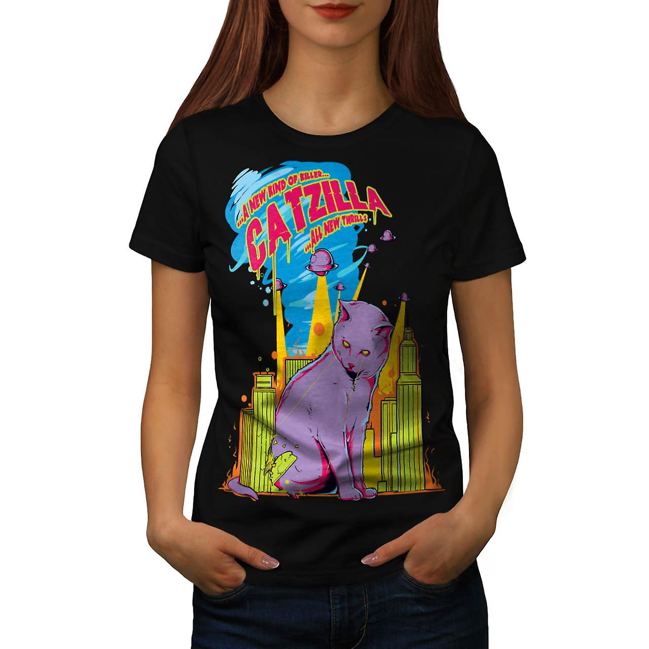 Katt Godzilla parodi Attack Kitty kvinnor svart T-shirt | Wellcoda