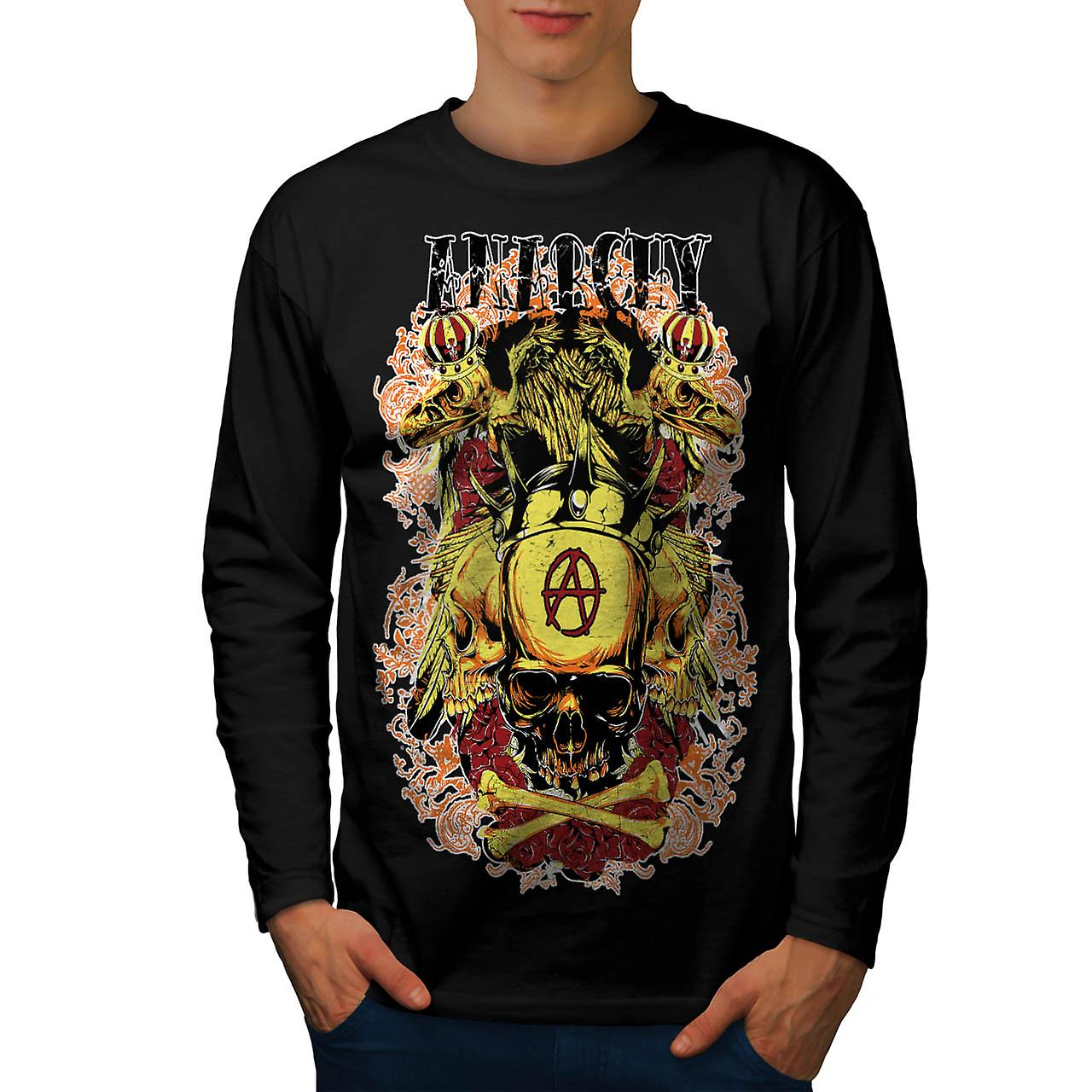Anarchy Royal Skull Tattoo Head Men Black Long Sleeve T-shirt | Wellcoda