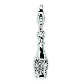 Sterling Silver Cubic Zirconia Champagne Bottle With Lobster Clasp Charm - Measures 30x6mm
