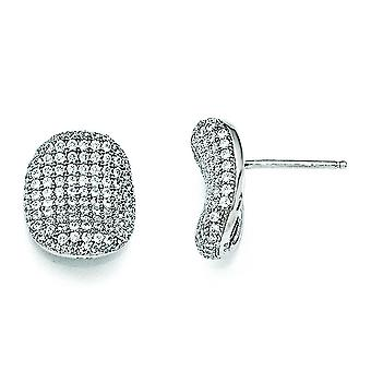 Sterling Silver Pave Rhodium-plated and Cubic Zirconia Polished Post Earrings