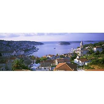Stad aan de waterkant Hvar Eiland Hvar Kroatië Poster afdrukken