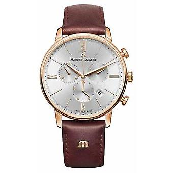 Maurice Lacroix Eliros 40mm Mens cuir marron Rose or plaqué montre EL1098-PVP01-111-1