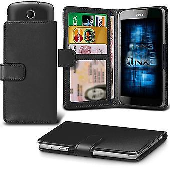 ONX3 (Black) LG K8 (2017) Case Universal Adjustable Spring Wallet ID Card Holder with Camera Slide and Banknotes Slot