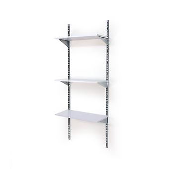 Wall Mounted Spur Twin Slot Build - 3 White Shelves - Medium - 1400mm