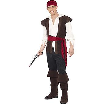 Pirat Kostüm Schwarz Kopftuch Oberteil Hose Gürtel und Überstiefeln