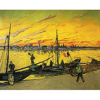 Vincent Van Gogh - Coal Barges, 1888 Poster Print Giclee