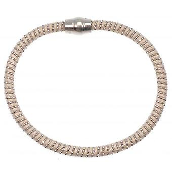 W.A.T Sterling Silver White Cord Sparkle Magnet Bracelet