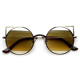 Lentilles géométriques minces de découpe métal rond pointu Cateye lunettes de soleil