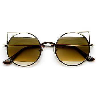 Tynd geometriske Metal Cut-Out linse runde spidse Cateye solbriller