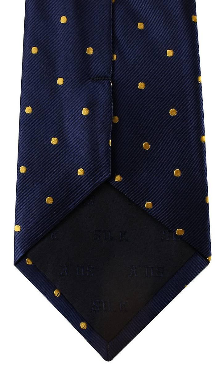David Van Hagen Polka Dot Tie - Navy/Gold