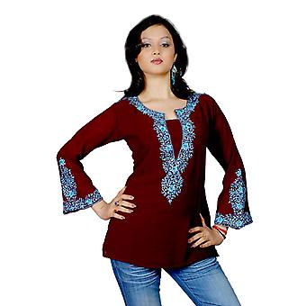 Dark brown long sleeves Kurti/Tunic with heavy embroidery