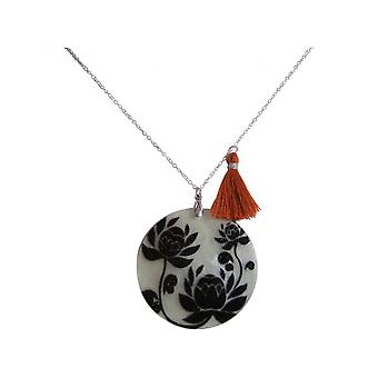 Ladies - necklace - pendant - Locket - mother of Pearl - FLOWERS - 925 Silver - Black - Brown - 5 cm