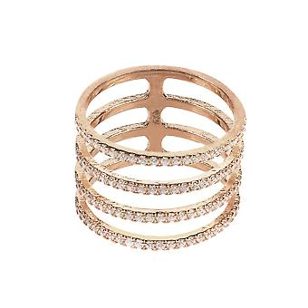 Latelita Ring Midi Stacking Four Line Fashion CZ Rose Pink Gold Sterling Silver