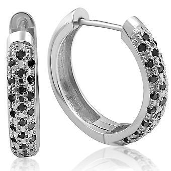 1 / 2ct schwarzer Diamant-Pavé Creolen Ohrringe Weißgold Damen Damen einzigartigen Stil