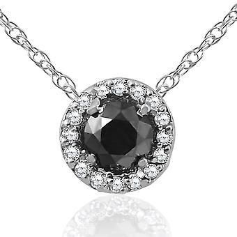 1/2ct Black & White Diamond Pave Halo Pendant 14K White Gold Womens Necklace