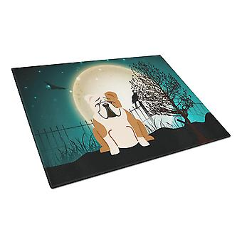 Halloween Scary  English Bulldog Fawn White Glass Cutting Board Large