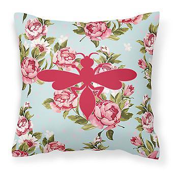 Avispa Shabby Chic rosas azules lienzo tejido decorativo de la almohadilla BB1054