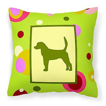 Lime Green Dots English Foxhound Fabric Decorative Pillow