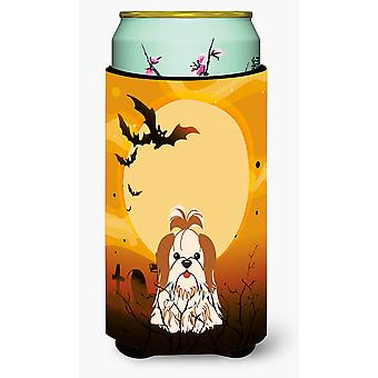 Halloween Shih Tzu Red White Tall Boy Beverage Insulator Hugger