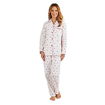 Slenderella PJ8213 Women's Pink Floral Brushed Cotton Pajama Long Sleeve Pyjama Set