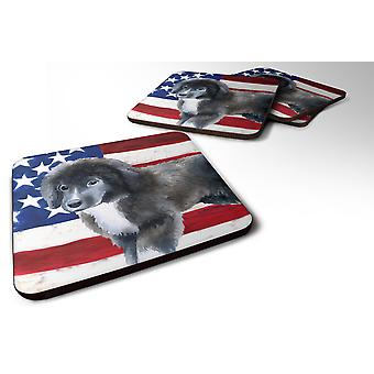 Set of 4 Newfoundland Puppy Patriotic Foam Coasters Set of 4