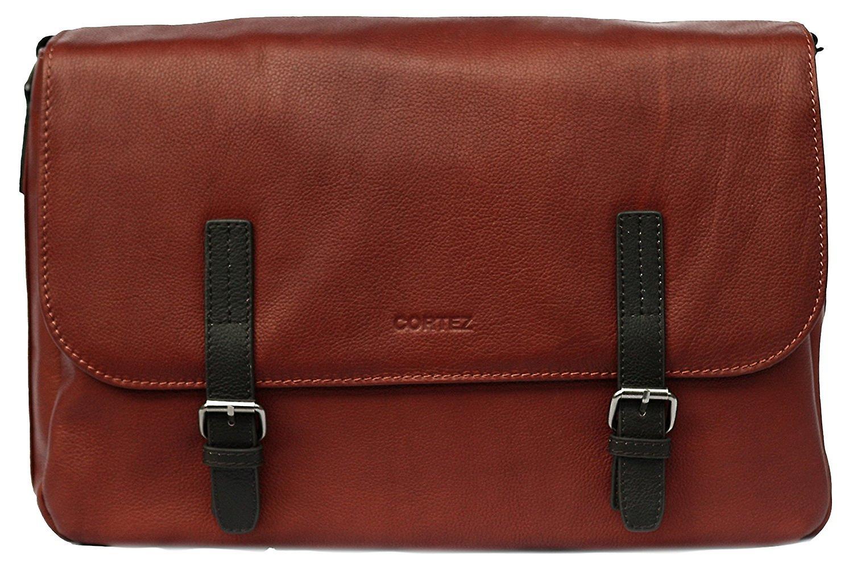Cortez Genuine Leather Messenger Bag Flapover Shoulder 16.5 Inch Work Satchel