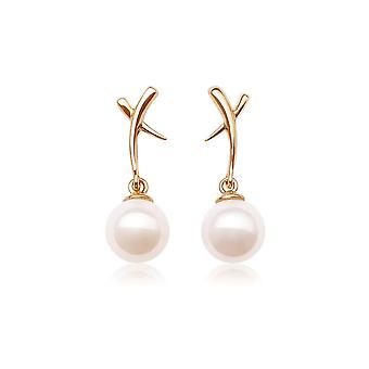 Earrings yellow gold ears and AAA cultured pearls