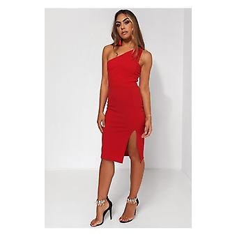 The Fashion Bible Grace Red One Shoulder Midi Dress
