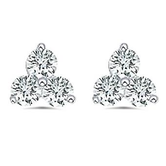 1ct drei Stein Diamant Ohrstecker 14K White Gold