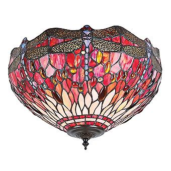 Interiors 1900 70708 Red Dragonfly 2 Light Flush Tiffany Ceiling Fitti