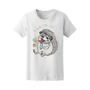 Funny Hedgehog Om Nom Nom Nom Tee Women's -Image by Shutterstock