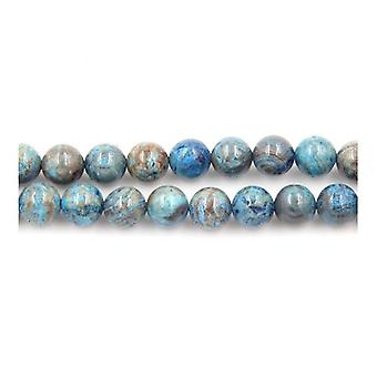 Strand 40+ Cyan/Brown Calsilica Jasper 10mm Plain Round Beads Y05610